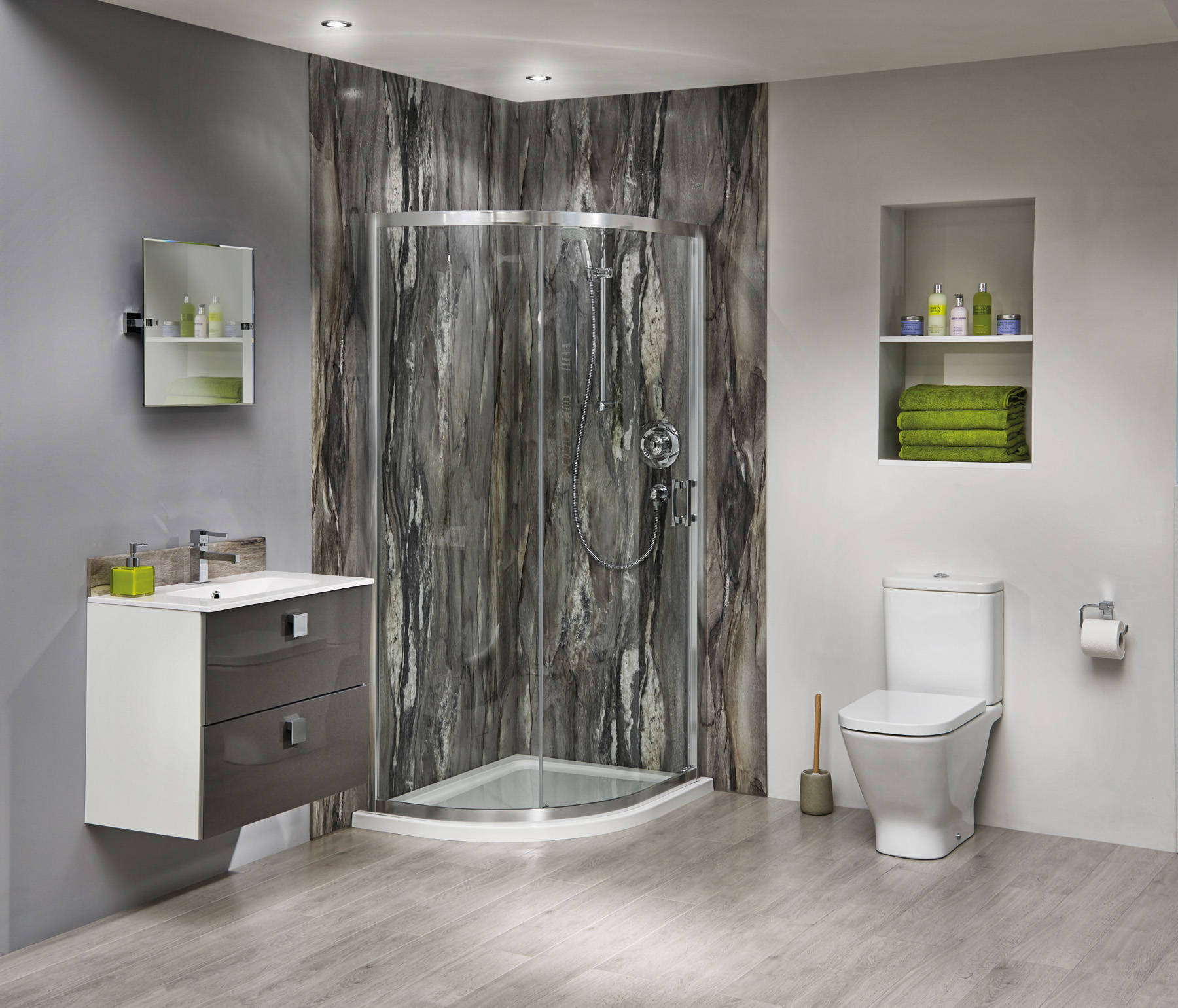 Bushboards Nuance bathroom wall panelling in Dolce Vita 02 LS LR
